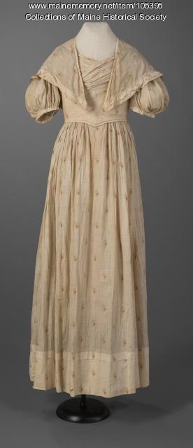 Young woman's muslin dress, ca. 1830