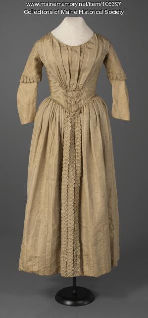 Figured silk evening dress, ca. 1845