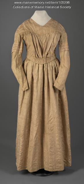 Victoria Mansion gold silk dress, Portland, ca. 1840