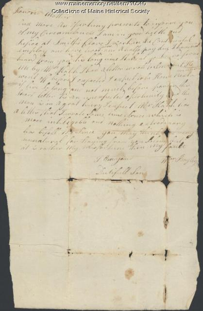 Letter from William Bayley to his mother, ca. 1777
