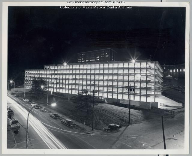 Maine Medical Center parking garage at night, Portland, 1973