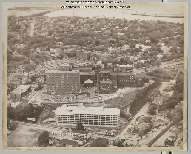 Aerial view of Maine Medical Center and surrounding streets, Portland, 1972