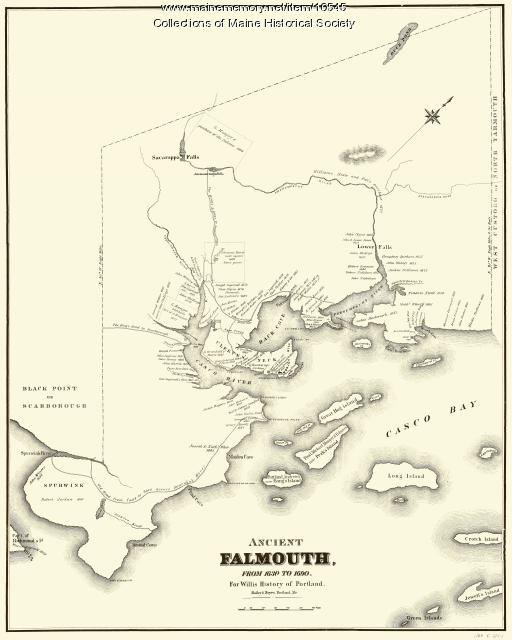 Map of Ancient Falmouth from 1630 to 1690