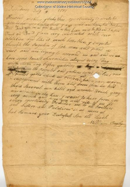William Bayley to mother, July 5, 1777