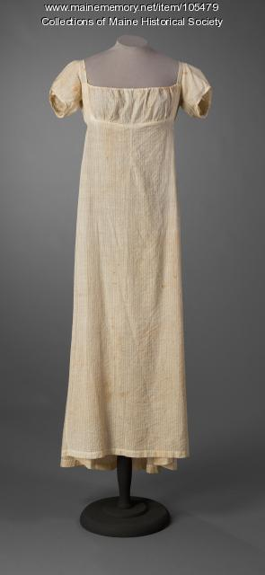 Slender cotton gown, Buckfield, ca. 1805