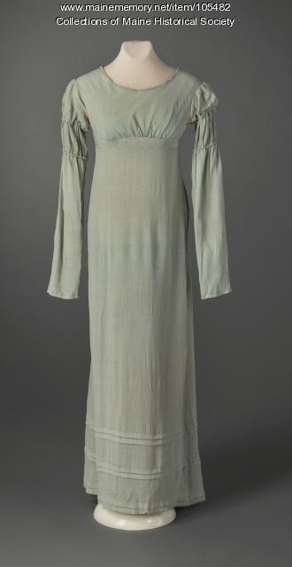 Dress with Juliet sleeves, Eastport, ca. 1822