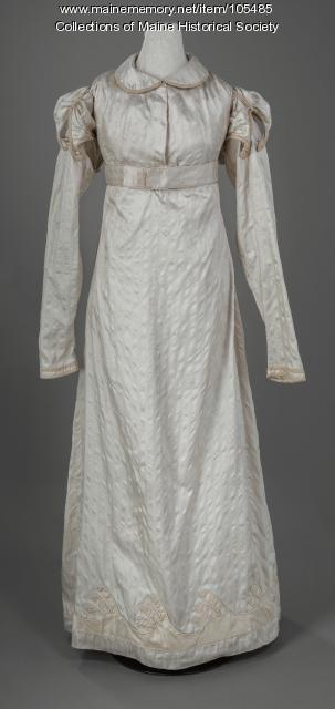 Zilpah Longfellow's detailed silk gown, Portland, ca. 1822