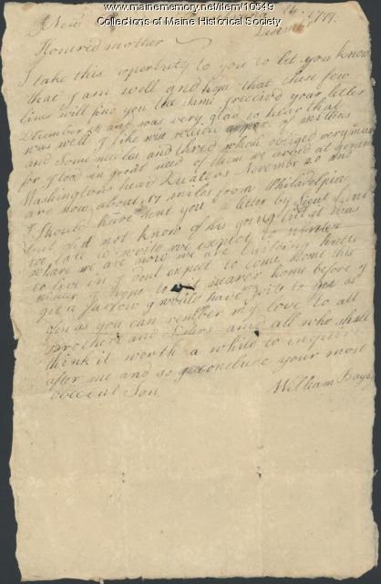 William Bayley to mother, December 1777