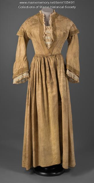 Gold damask dress, ca. 1855