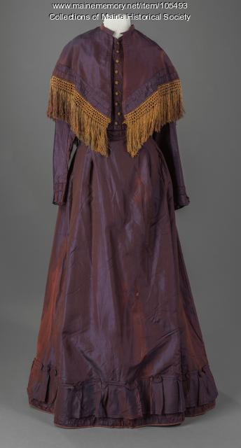 Iridescent shot silk crinoline dress, Farmington, ca. 1869