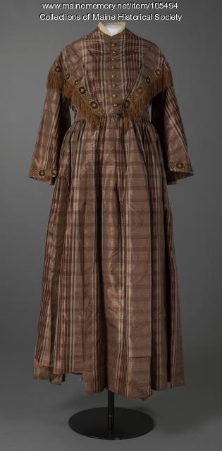 Plaid silk day dress, ca. 1850
