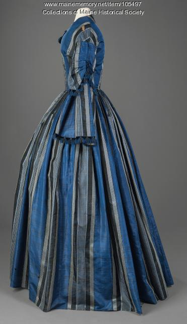 Almina Deering's striped dress with velvet trim, Waterboro, ca. 1856