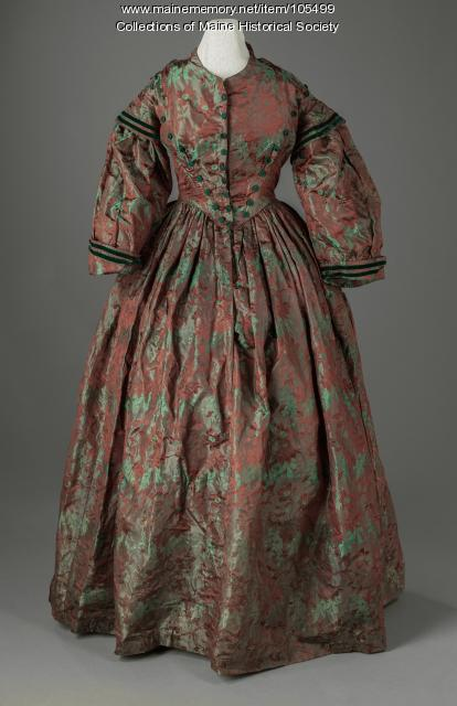 Mary Goodenow's changable silk dress, Farmington, ca. 1852