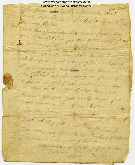 William Bayley letter to mother, April 16, 1778