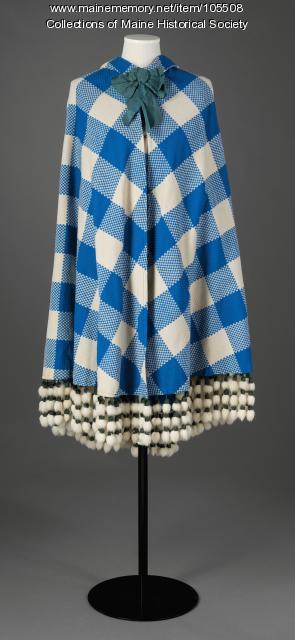 Blue and white check cape, Manchester, New Hampshire, ca. 1870