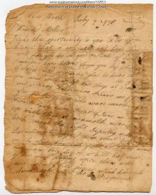 William Bayley letter to mother, July 7, 1778