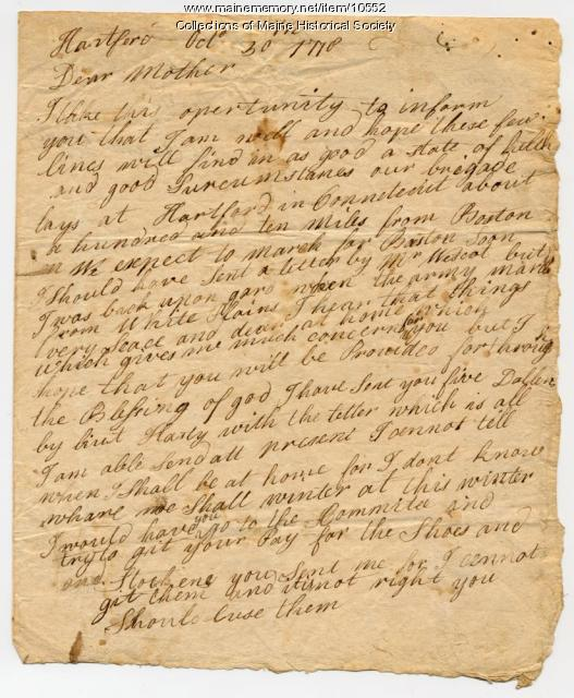 William Bayley to mother, October 30, 1778