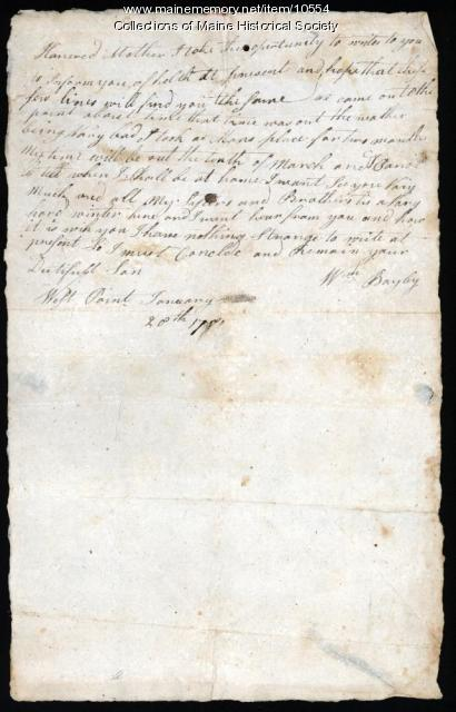 William Bayley letter to mother, January 28, 1780