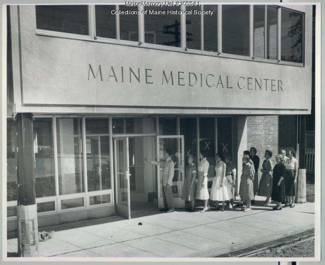 Staff tours the new Maine Medical Center building, Portland, 1956