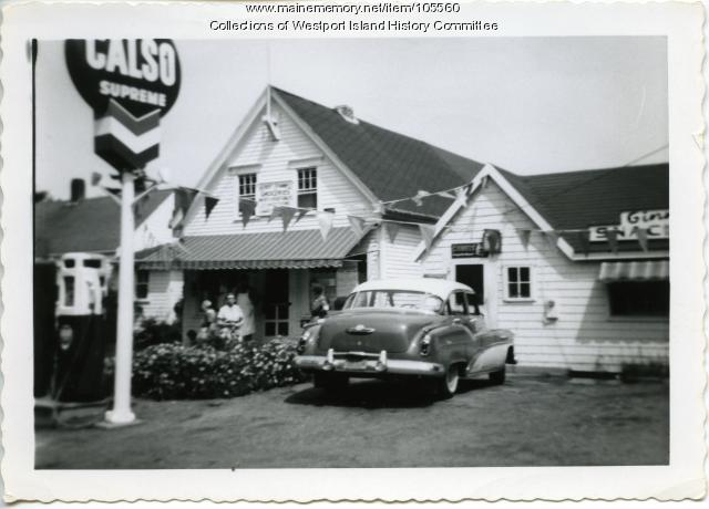 Herb Cromwell's Store and Ginny's Snack Bar, Westport Island, ca. 1955