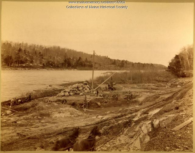 Overview of dam site, Pejepscot Paper Co., Topsham, 1893