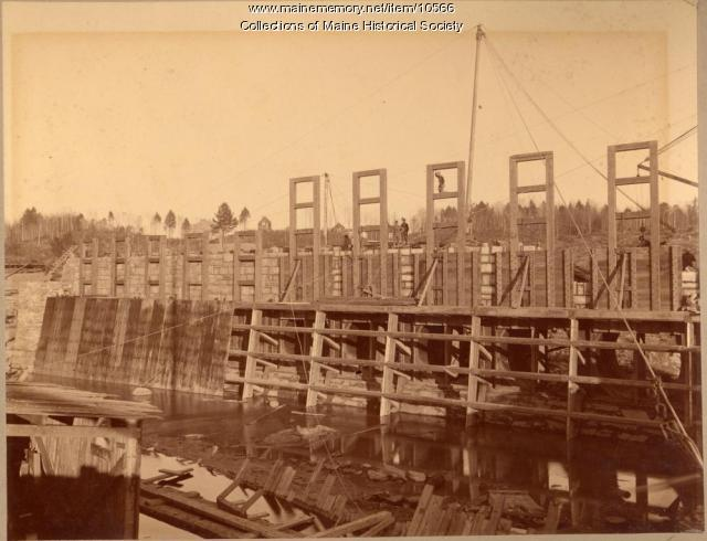 Pejepscot dam structure, Topsham, 1893