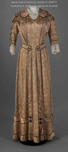 Gold printed satin dress, Portland, ca. 1907