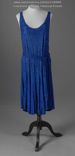Beaded blue chiffon party dress, ca. 1925