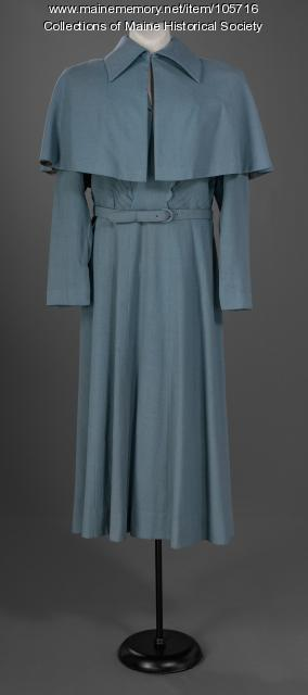 Powder blue suit with caplet, ca. 1950