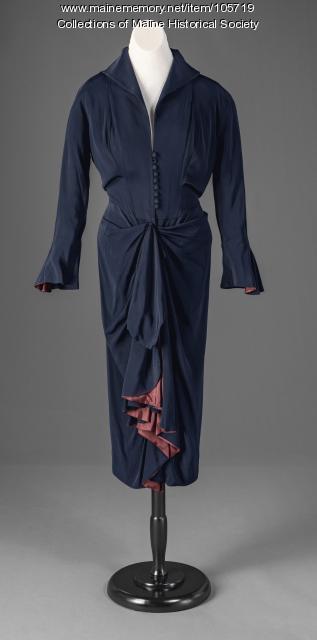 Trumpet sleeve dress, ca. 1946