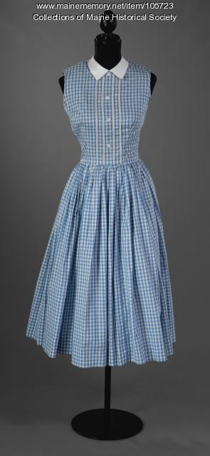 Jane Sanborn's blue and white check dress, ca. 1955