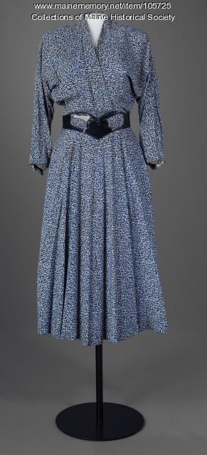 Ida M. Lane speckeled blue dress, ca. 1955