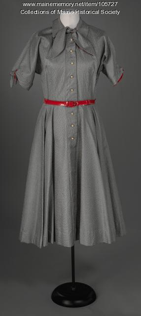 Nylon dress with faux pearl buttons, ca. 1955