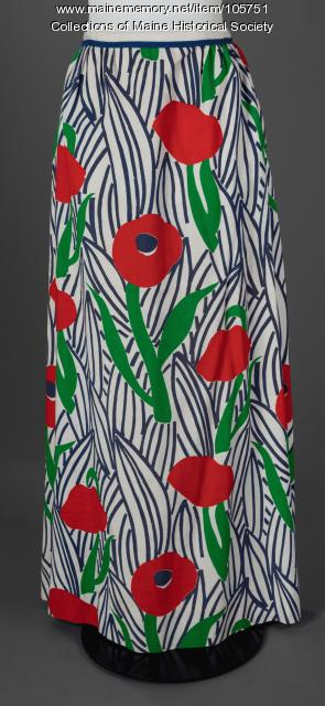 Poppy print maxi skirt, ca. 1975