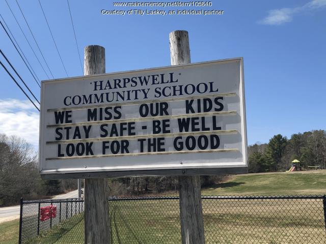 Harpswell Community School pandemic message, 2020