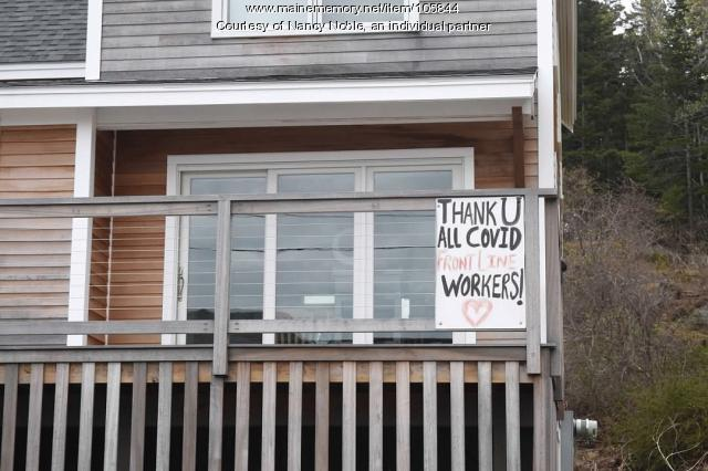 A cheerful sign of appreciation for COVID-19 workers, Long Island, 2020