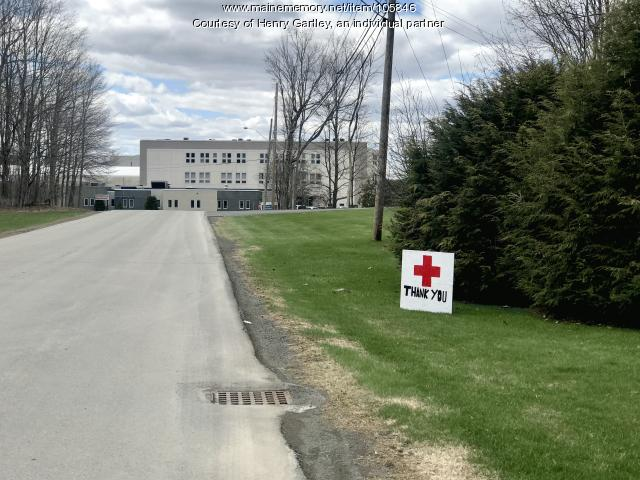 Thank you sign for health care workers, Houlton, 2020
