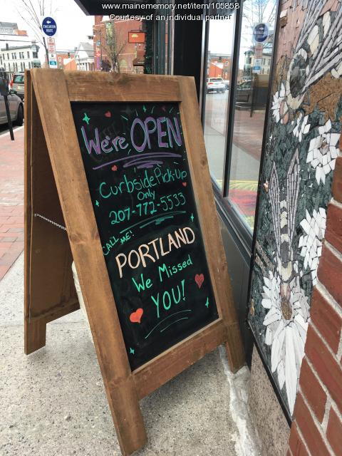 Reopening sign at Coffee By Design, Portland, 2020