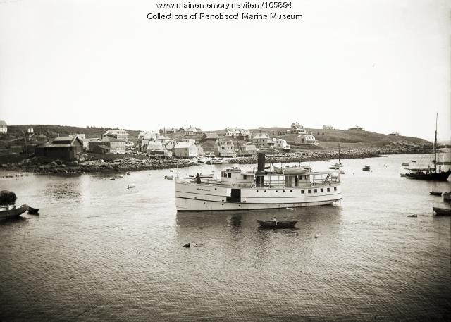 """View of Monhegan and the steamer """"May Archer,"""" ca. 1915"""