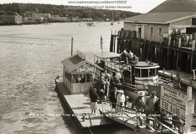 Passenger boat landing, Boothbay Harbor, ca. 1940