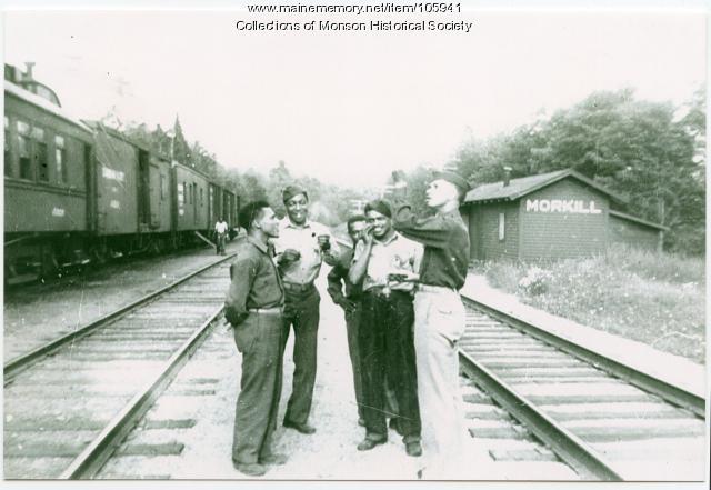 Onawa Trestle guards at Morkill, ca. 1942