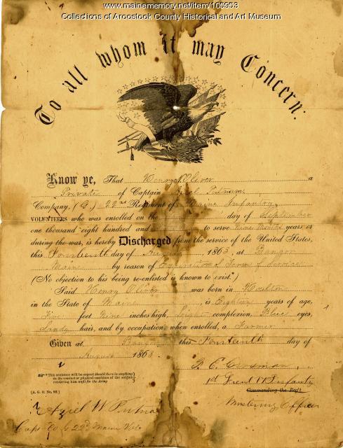 Henry N. Oliver discharge paper, Houlton, 1863