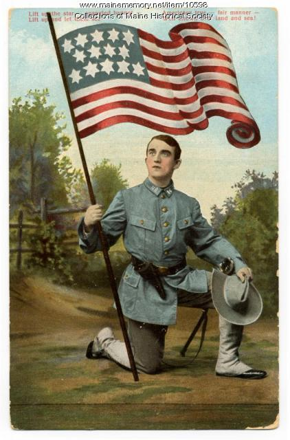 'Lift up the star spangled banner' postcard, 1910