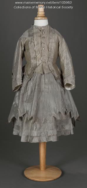 Child'sy gray and white striped dress, ca. 1875