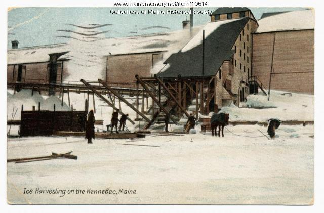 Ice harvesting on the Kennebec, 1910