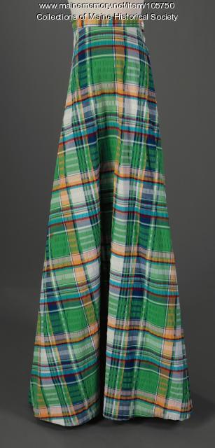 Seersucker plaid maxi skirt, ca. 1970