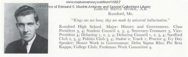 Yearbook entry, Edmund S. Muskie, 1936