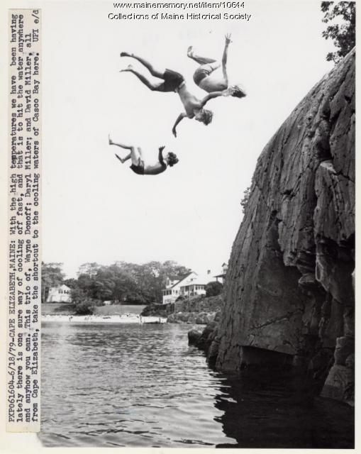 Boys cooling off, Cape Elizabeth, 1979
