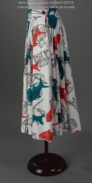 Printed cicle skirt, ca. 1955