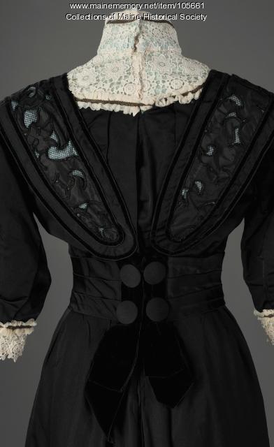 Mary Scrimgeour's black suit dress with aquamarine lining, Lewiston, ca. 1900